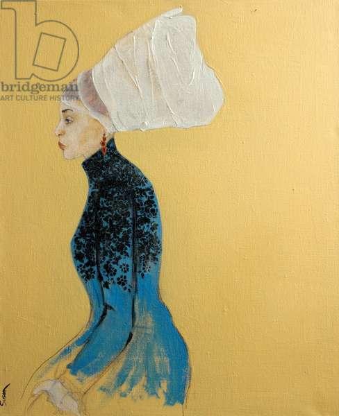 Women in Blue Dress with Flemish Headdress, 2016, (acrylic on canvas)