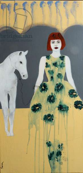 Redhead with White Horse and Blue Green Flowers, 2016, (acrylic on canvas)