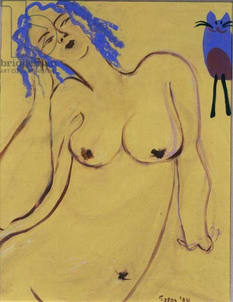 Nude with Blue Cat, 2004 (acrylic on paper)