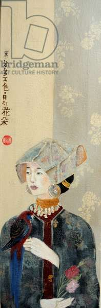 Chinese Lady with Bonnet and Rosella,2015,(acrylic on canvas) detail