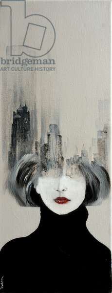 Manhattan Skyline and young woman,2016), (acrylic on canvas)