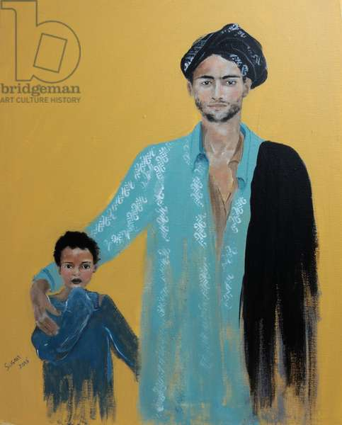 Father and Son from the Rayo Wollo People Ethiopia 2015 (acrylic on canvas)