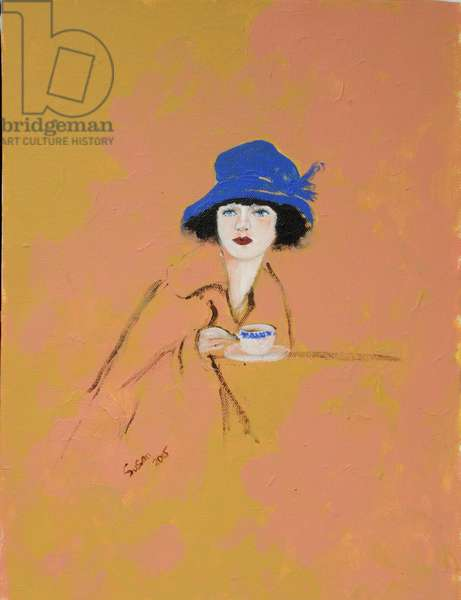 Lady with Cup of Tea, 2015 (acrylic on canvas)
