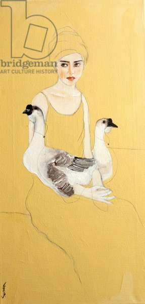 Woman in Yellow Turban with Two Ducks, 2016, (acrylic on canvas)