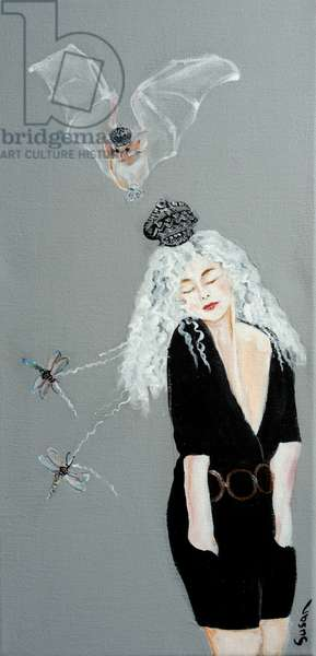 Women with Bat and Dragonflies, 2016, (acrylic on canvas)