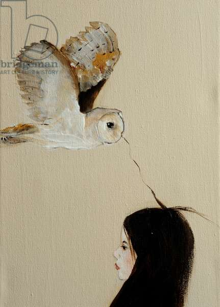 Little Girl with Owl,2016, (acrylic on canvas) detail