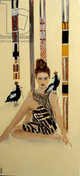 Indigenous Australian woman with Magpies and ceremonial poles, 2016,(collage/acryli/c on canvas)