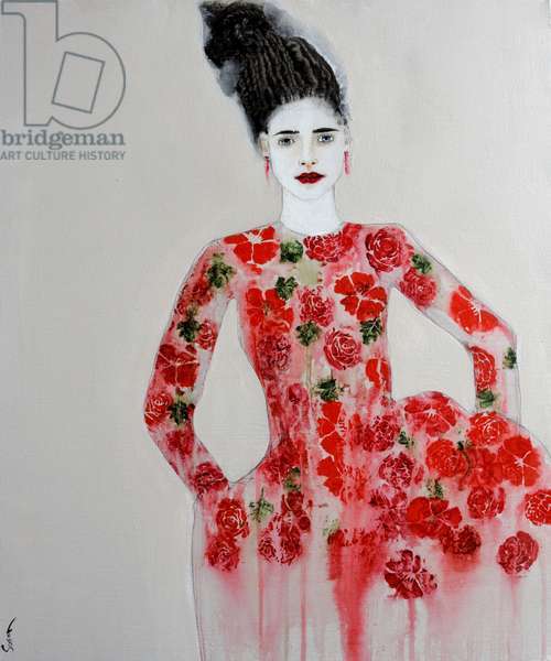 Red Dress, 2016, (acrylic on canvas)