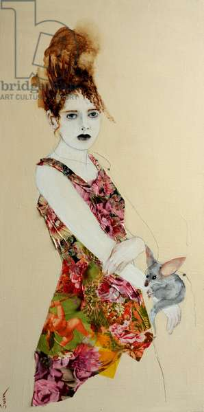 Redhead, Pink Dress and Bilby, 2016. (acrylic on canvas with collage)