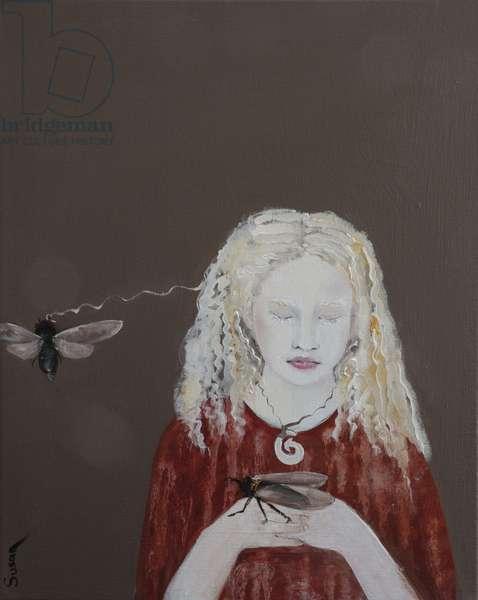 Tongan Princess (albino) with Redeye Cicadas, 2017, (acrylic and oil on canvas)