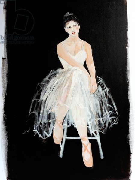 Seated Ballerina with silver crown (acrylic on canvas) 2015