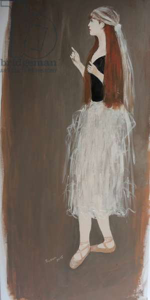 Ballet Dancer with Red Hair (acrylic on canvas) 2015