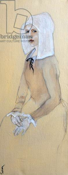 Flemish Girl in White Bonnet, 2016, (acrylic on canvas with ageing varnish)
