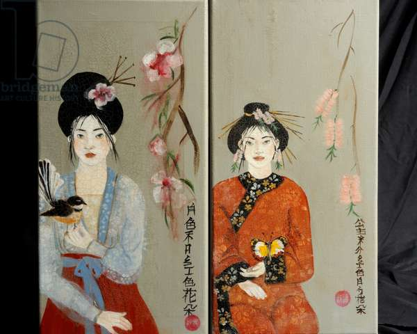 Qing Dynasty women with Butterfly and Song Dynasty Women with Fantail,2016,(acrylic on canvas)