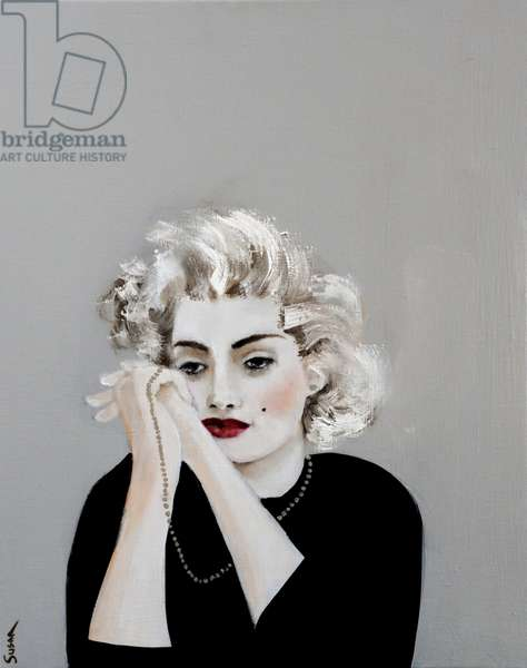 Pensive Marilyn with Pearls, 2017,(oil and acrylic on canvas)