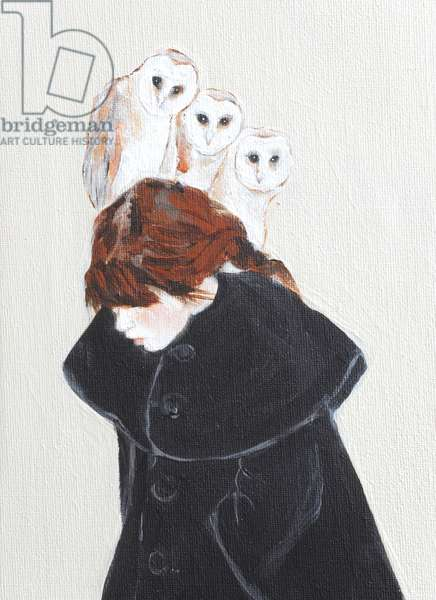 Redhead with Owls, 2016, (acrylic on canvas) detail