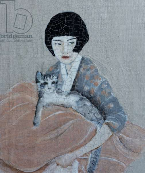 Korean Women with Tabby Cat, 2016 (acrylic on canvas) detail