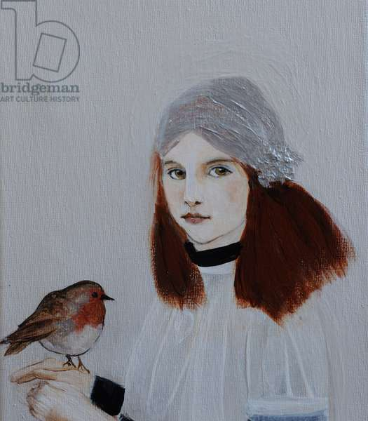 Little Redhead with Robin, 2016, (acrylic on canvas) detail
