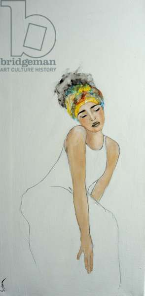 African Woman with colourful headdress (2) 2016,(acrylic on canvas)
