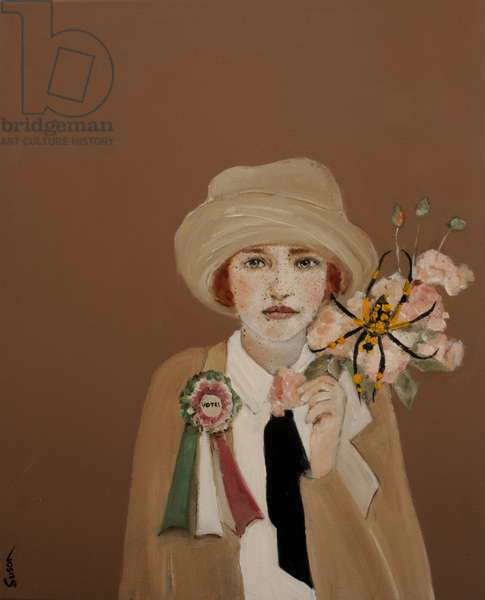 Suffragette with Golden Orb, 2017, (oil and acrylic on canvas)