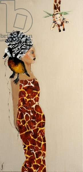 African Lady with Duck and Giraffe, 2016, (acrylic/collage on canvas)
