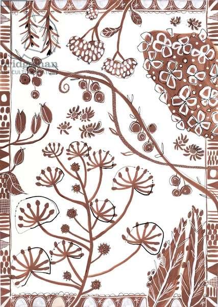 Monotone Floral, 2019 (acryla gouache on paper)