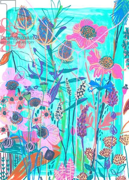 Blue Poppy, 2019 (acryla gouache and pen on paper)