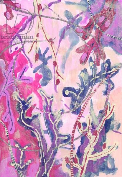 Scarlet Seaweed, 2018 (gouache on paper)