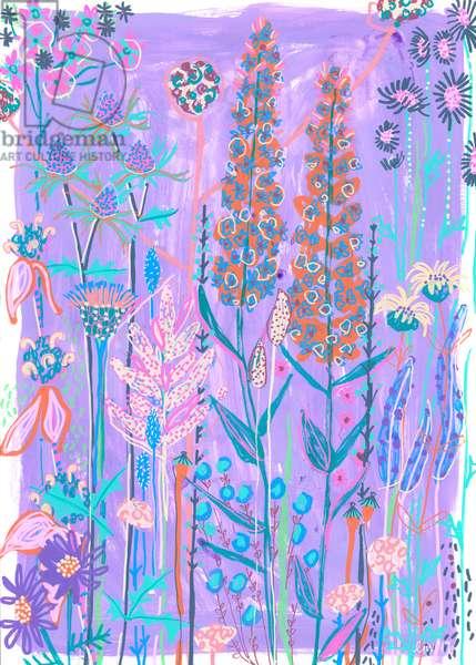 Purple Garden House, 2019 (gouache on paper)