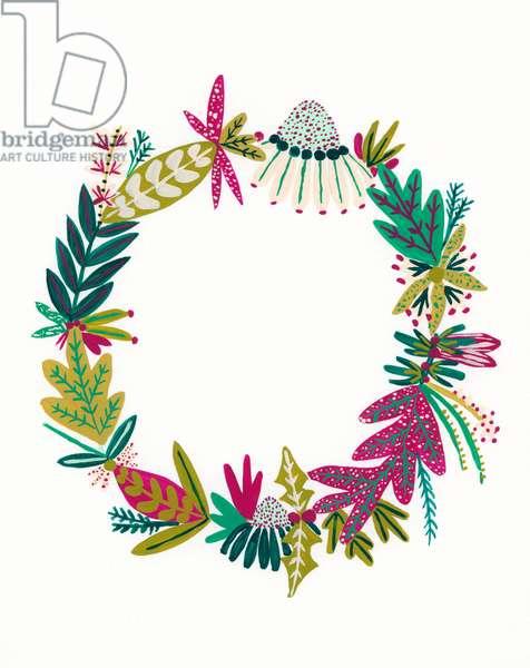 Wreath II, 2018 (gouache on paper)