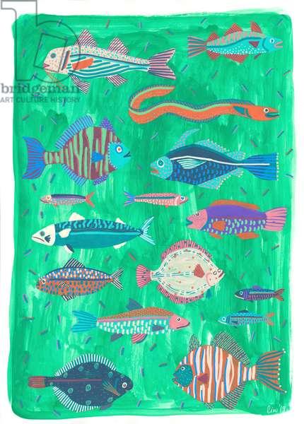 Fish Are Friends, 2019 (gouache on bristol board)