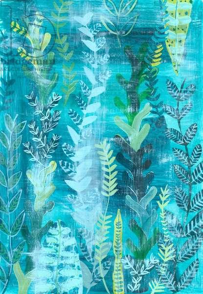 Blue Jungle Boogie, 2018 (gouache on paper)
