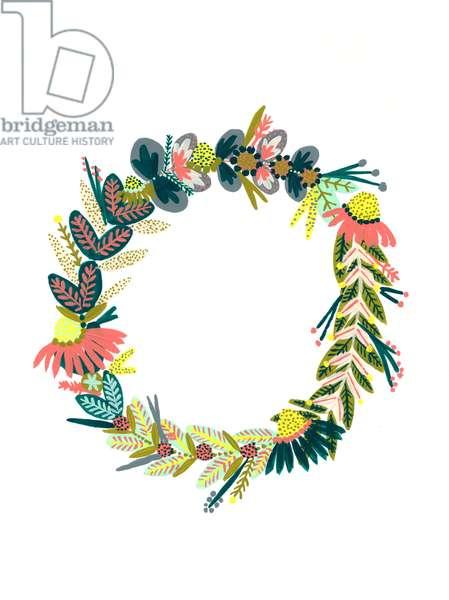 Wreath IV, 2018 (gouache on paper)
