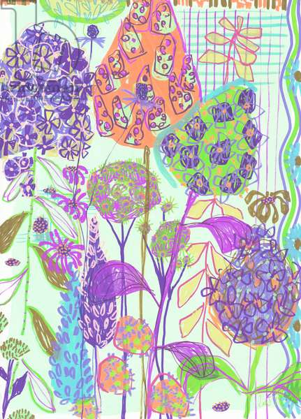 Graphic Hydrangea (Purple), 2019 (acrylic and pen on paper)