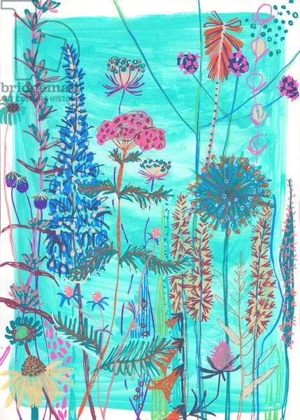 Blue Garden House, 2019 (gouache on paper)