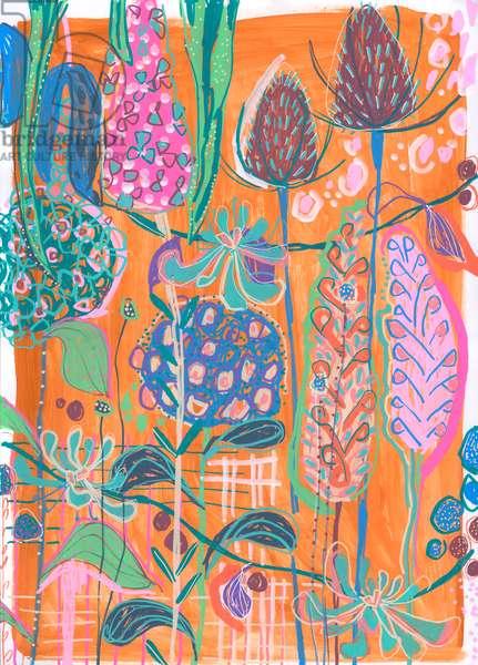 Orange Hydrangeas, 2019 (gouache on paper)