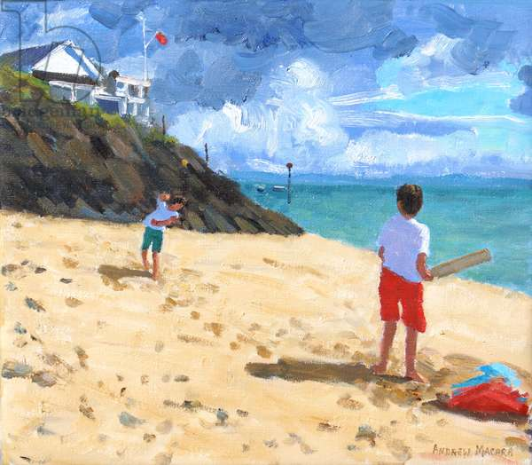 Bowling and batting,Abersoch,2015,(oil on canvas)