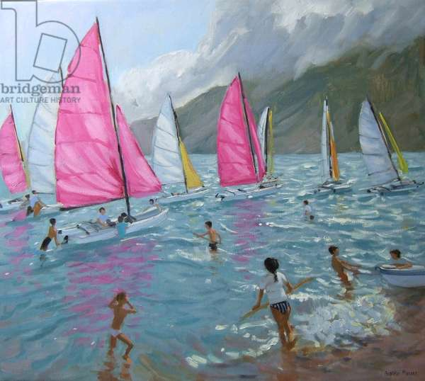 Pink and white sails,Lefkas,2007,(oil on canvas)