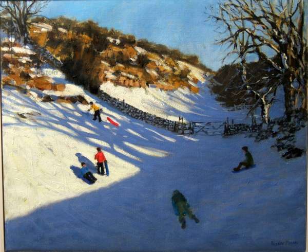Snow in the valley, near Monyash, Derbyshire (oil on canvas)