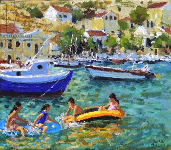 Fun in dinghies,Symi,Greece, (oil on canvas)