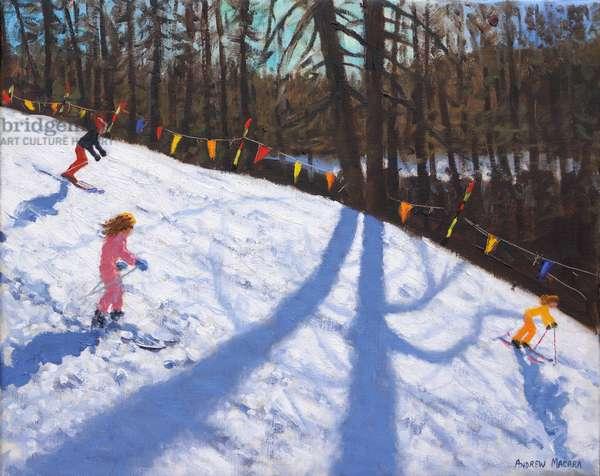 Three Valleys skiing ,2018,(oil on canvas)