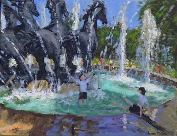 Four horses Fountain,Manezhnaya Square,Moscow,2016,(oil on canvas)