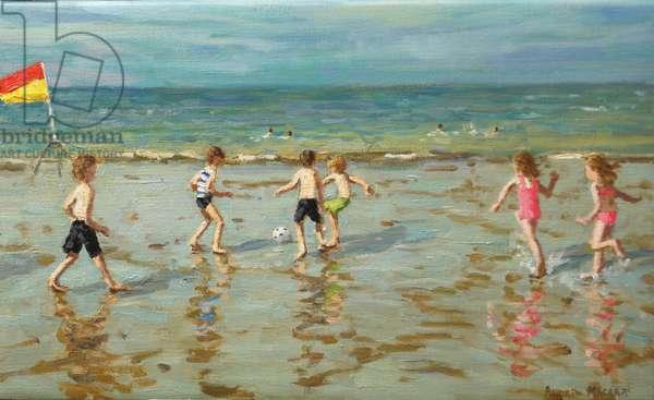 Beach football,Sheringham ,2018, (oil on canvas)