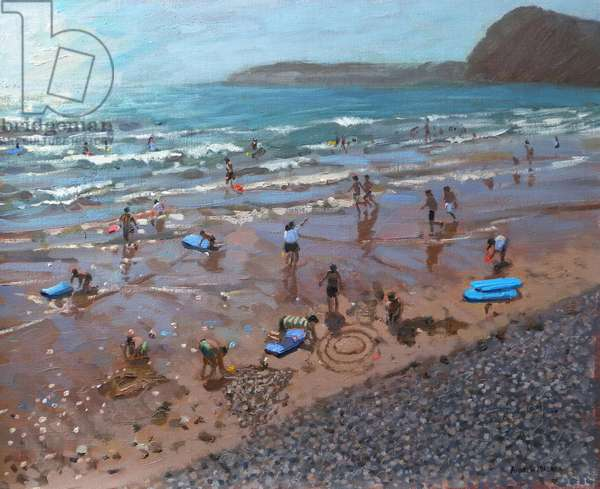Circles in the Sand, Sidmouth, 2007 (oil on canvas)