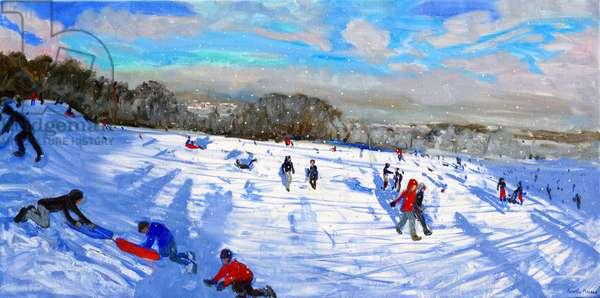 Snow flurries,Allestree Park,Derby. (oil on canvas)