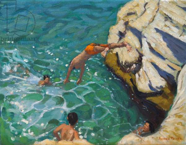 Diving and swimming,,Skiathos. 2016,(oil on canvas)