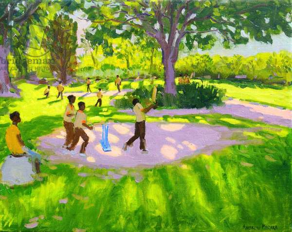 Cricket Practise,Botanical Gardens,Dominica,Grenadines,West Indies, (oil on canvas)