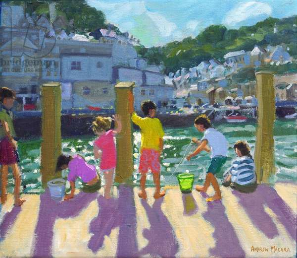 Quayside fishing,Looe,2015,(oil on canvas)
