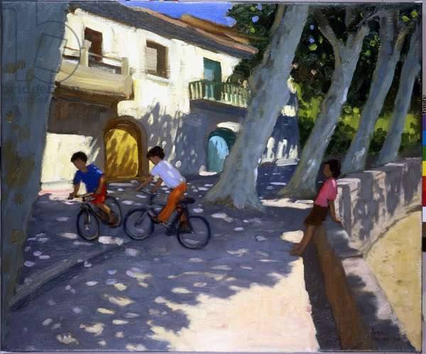 Boys and bikes,France,(oil on canvas)