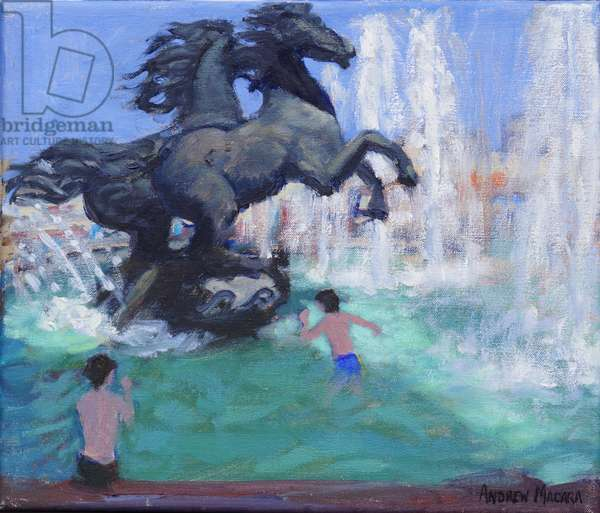Horse sculptures,Manezhnaya Square, Moscow, 2016, (oil on canvas )